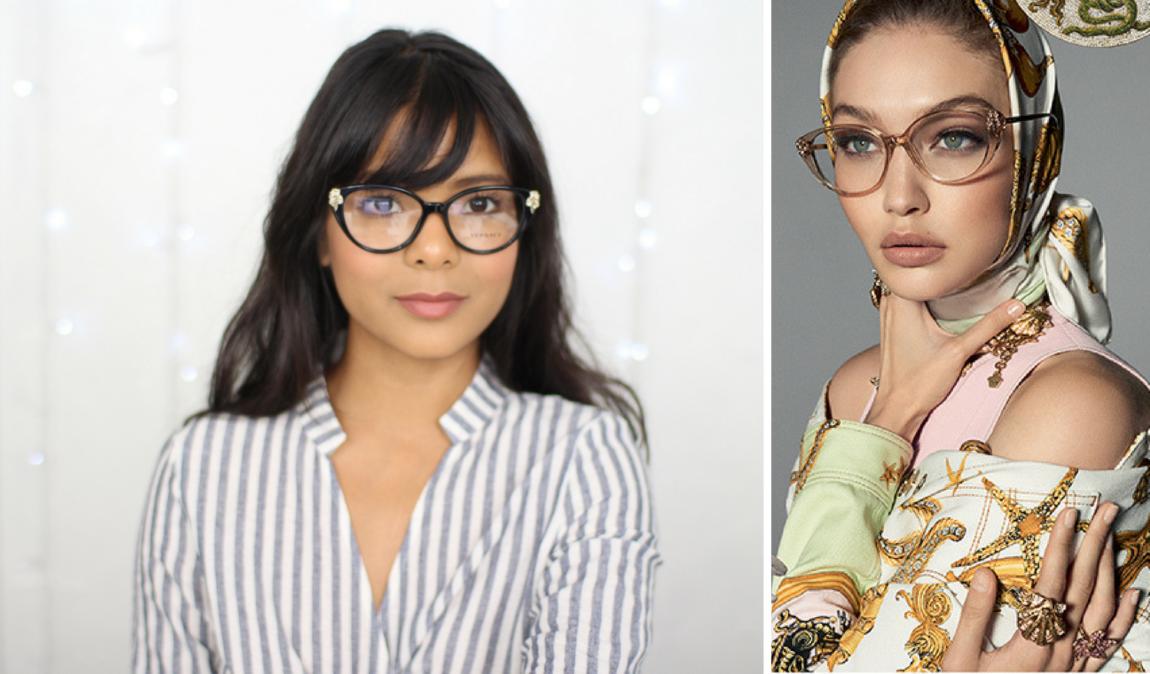 637e55043b Gigi Hadid Versace VE3262B Glasses Review   Style