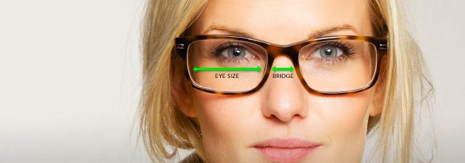 directions on how to find lens size for glasses